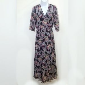 floral maxi with sheer sleeves and ruffles